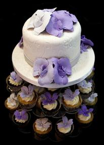 Floral Wedding Cake & Cupcake Tower